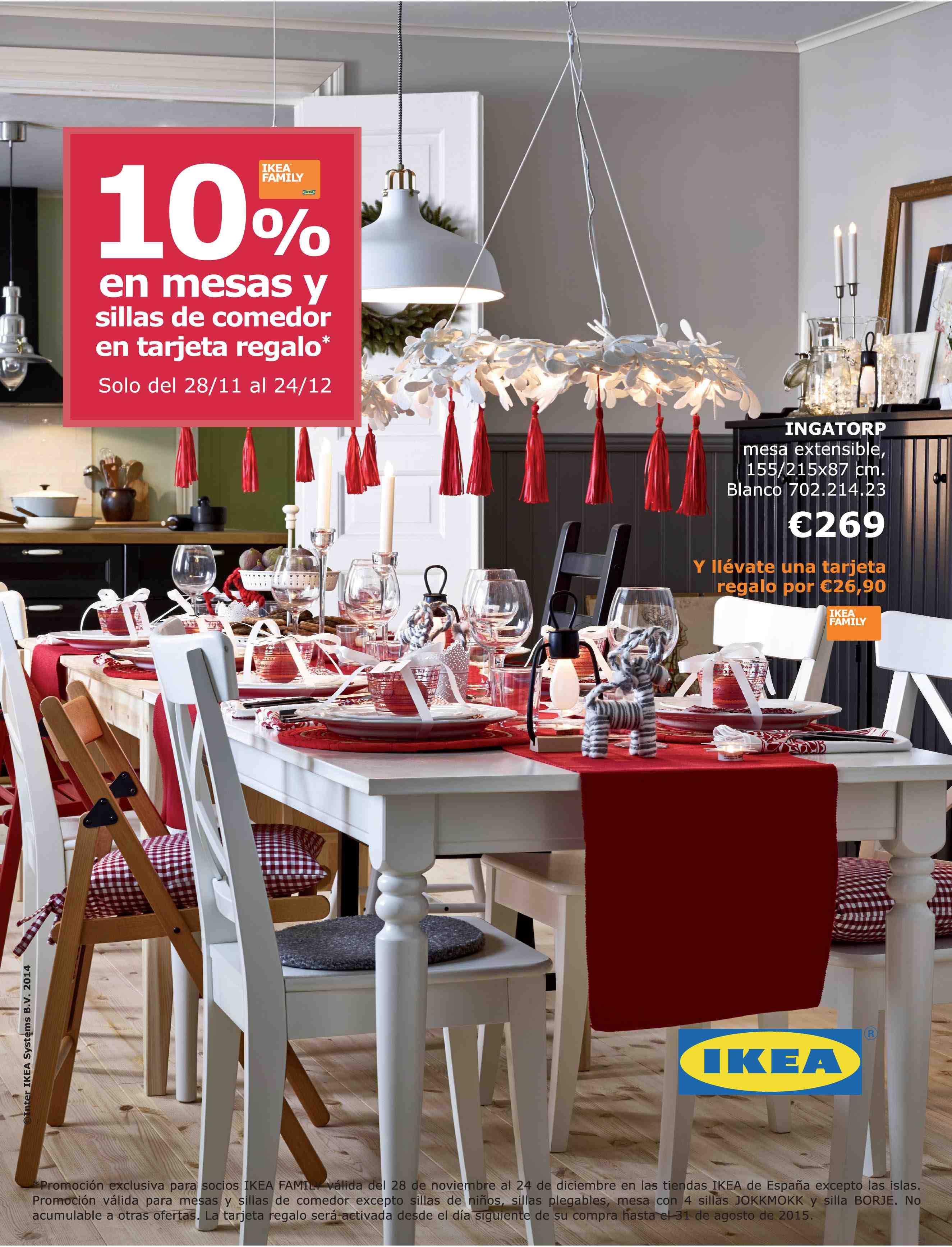 IKEA: 10% en mesas y sillas de comedor en tarjeta regalo